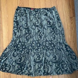Patterned Flare Midi Skirt